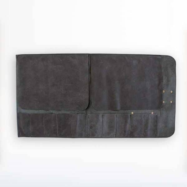 schwarze Messertasche aus Leder für 10 Messer von McBrikett