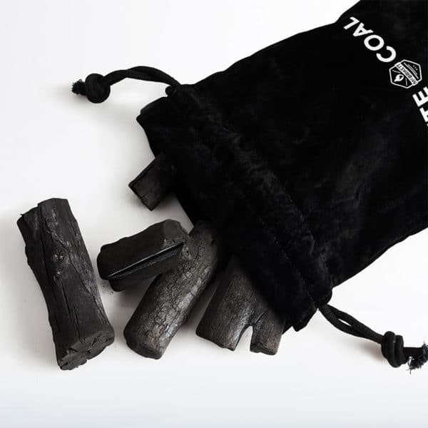 WHITE COAL Binchotan - Premium Holzkohle im edlen Samtsack