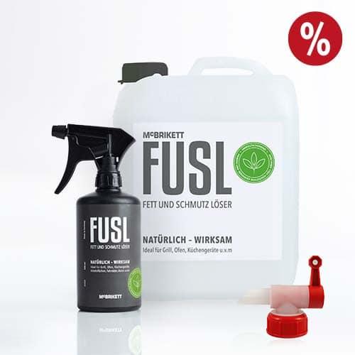 FUSL Reiniger 500 ml + 5 Liter Nachfüllkanister + Ausgießer im Set-Angebot von McBrikett