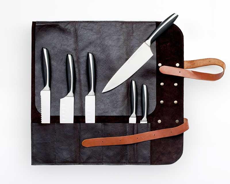 Messertasche schwarz aus Leder für 5 Messer