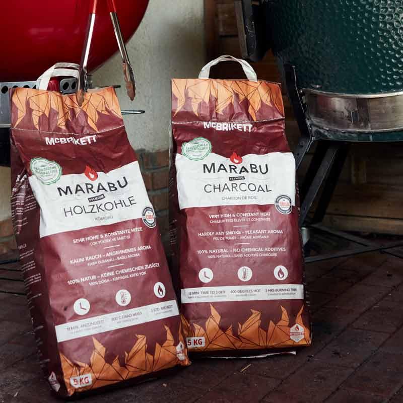 MARABU Holzkohle - Premium Grillkohle für Kugelgrill und Keramikgrill