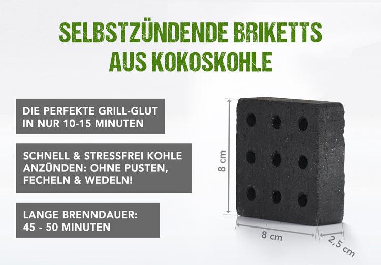 Grillstarter Briketts - Grillanzünder aus Kokoskohle